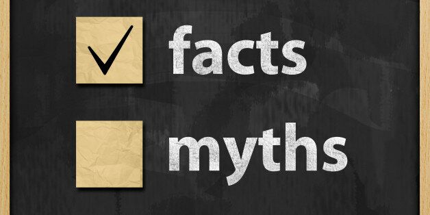 Facts Myths Concept Blackboard (Click for