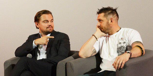 LONDON, ENGLAND - DECEMBER 06: Leonardo DiCaprio (L) and Tom Hardy attend a Q&A following a BAFTA screening...