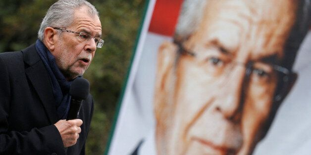 Austrian presidential candidate Alexander Van der Bellen, who is supported by the Greens, delivers a...