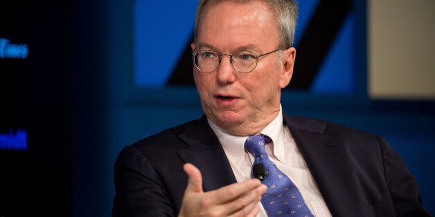 Eric Schmidt, executive chairman of Alphabet Inc., speaks during the New York Times DealBook conference...