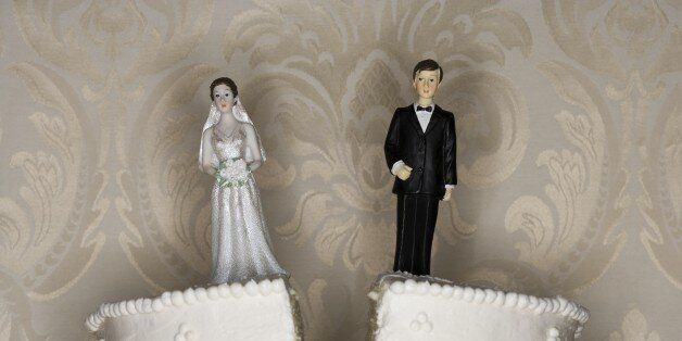 Wedding cake visual metaphor with figurine cake