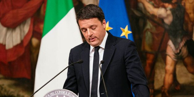 The Prime Minister of Italy Matteo Renzi speaks at Palazzo Chigi admitting his defeat in the referendum...