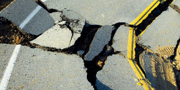 Road destroyed by the effects of heavy