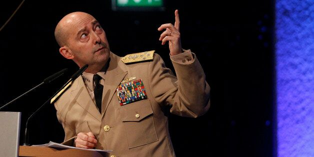 NATO Supreme Allied Commander Europe (SACEUR) U.S. Navy Admiral James Stavridis delivers a speech before...