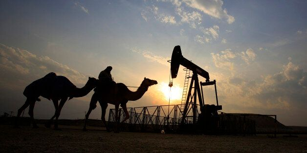 FILE- In this Sunday, Dec. 20, 2015 file photo, a man rides a camel through the desert oil field and...