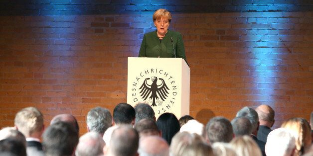BERLIN, GERMANY - NOVEMBER 28: German Chancellor Angela Merkel attends the 60th anniversary of the BND...