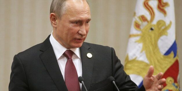 LIMA, PERU - NOVEMBER 20, 2016: Russia's President Vladimir Putin gives a press conference following...
