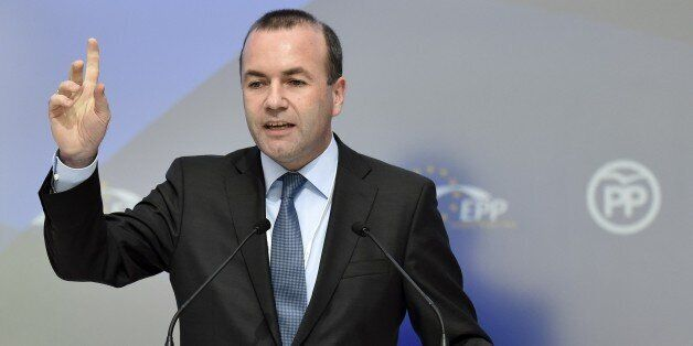 German European People's Party (EPP) chairman Manfred Weber delivers a speech during the European People's...