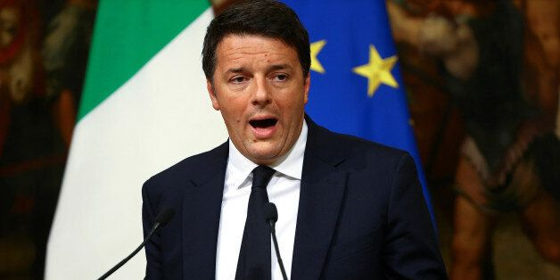 Italian Prime Minister Matteo Renzi leads a news conference to mark his 1000 days of government in Rome,...