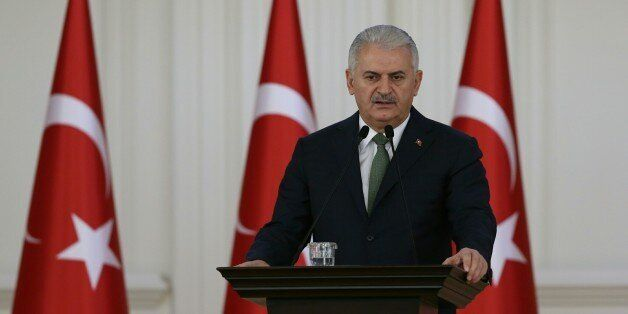 ANKARA, TURKEY - NOVEMBER 24 : Prime Minister of Turkey, Binali Yildirim addresses a speech to the teachers...