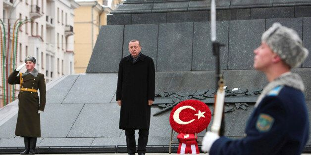 Turkish President Tayyip Erdogan attends a wreath laying ceremony at Victory Monument in Minsk, Belarus,...