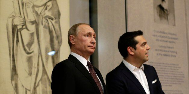 Greek Prime Minister Alexis Tsipras, right, and Russian President Vladimir Putin visit the Byzantine...