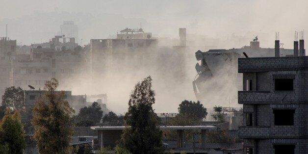 DAMASCUS, SYRIA - NOVEMBER 20: Smoke rises after the war crafts belonging to the Syrian Army carried...