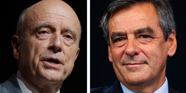 A combination of file photos shows Alain Juppe (L), current mayor of Bordeaux and Francois Fillon, a...
