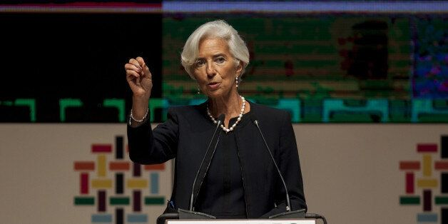 Christine Lagarde, managing director of the International Monetary Fund (IMF), speaks during a press...