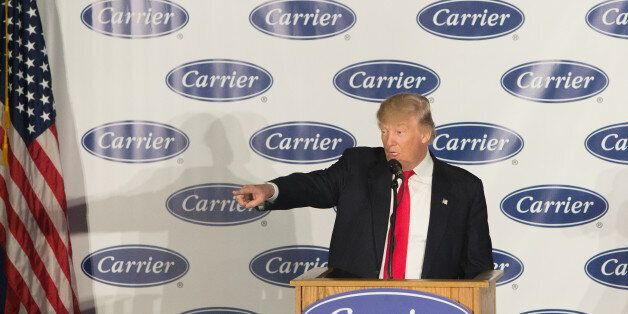 INDIANAPOLIS, IN - DECEMBER 01: President-elect Donald Trump speaks to workers at Carrier air conditioning...