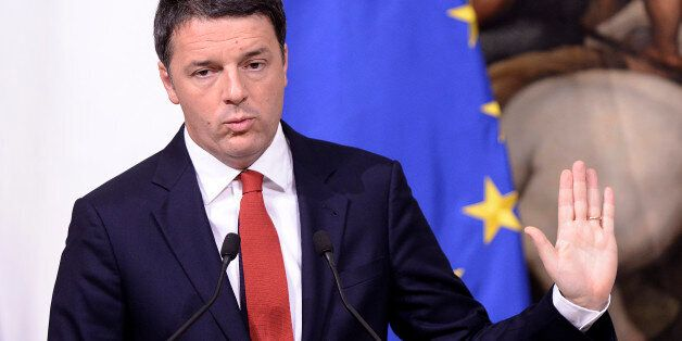 ROME, ITALY - NOVEMBER 28: Prime Minister Matteo Renzi speaks during the Budget Law Press Conference...