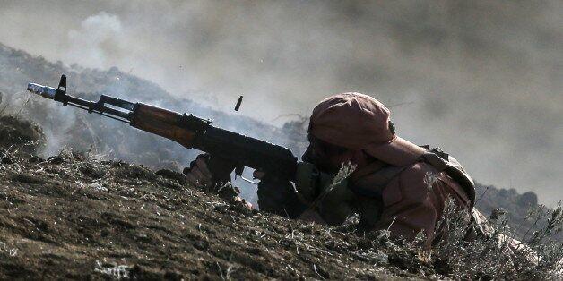 CRIMEA, RUSSIA - SEPTEMBER 9, 2016: A Russian serviceman takes part in the Caucasus 2016 strategic drills...