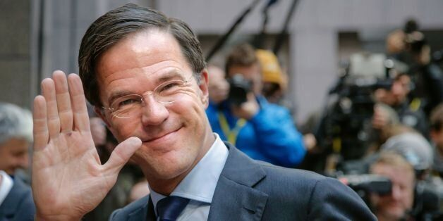 Netherland's Prime minister Mark Rutte gestures as he arrives for the second day of an European Union...