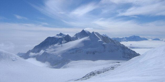 This photo was taken from below the summit of Antarctica's highest peak, Mount Vinson. The Pyramid shaped...