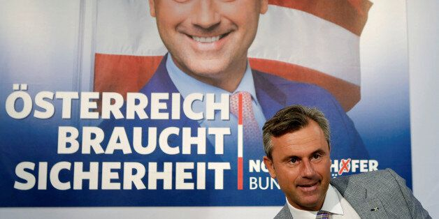 Austrian presidential candidate Norbert Hofer of the Freedom Party (FPOe) arrives for a news conference...