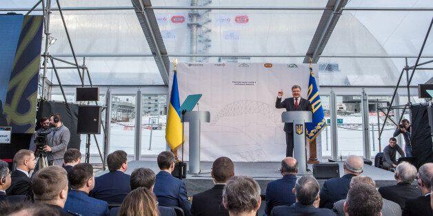 CHERNOBYL, UKRAINE - NOVEMBER 29: President Petro Poroshenko of Ukraine speaks at a ceremony marking...