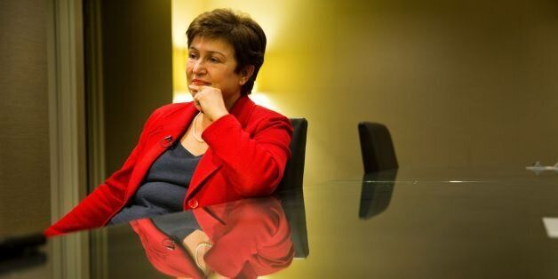 European Commissioner for Budget and Human Resources Kristalina Georgieva speaks for AFP on September...