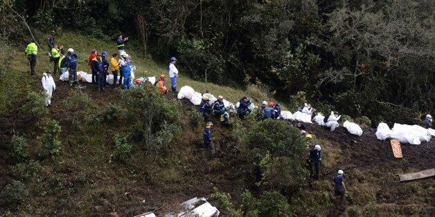 LA UNION, COLOMBIA - NOVEMBER 29: A general view of the airplane crash in the Colombian area of Antioquia...