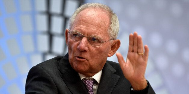 German Finance Minister Wolfgang Schauble speaks during a panel discussion at the annual meetings of...