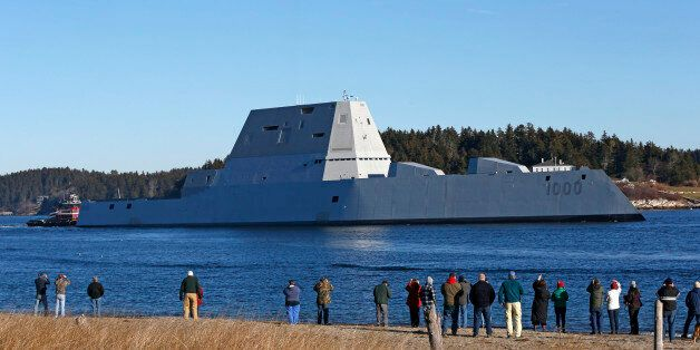 FILE- In this Dec. 7, 2015, file photo, the USS Zumwalt travels down the Kennebec River in Phippsburg,...