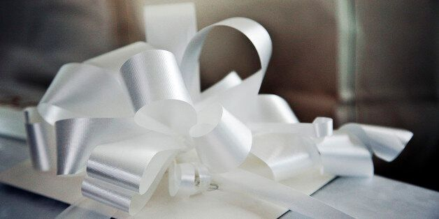 A Gift with a Big White Ribbon on