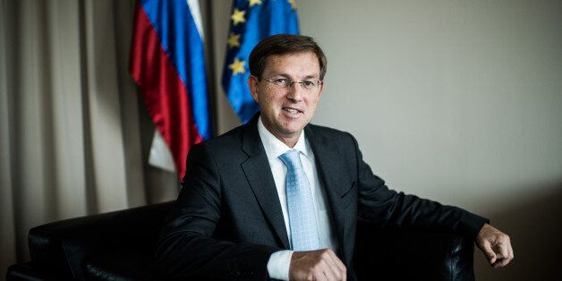 Miro Cerar, Slovenia's prime minister, poses for a photograph following an interview in his office in...
