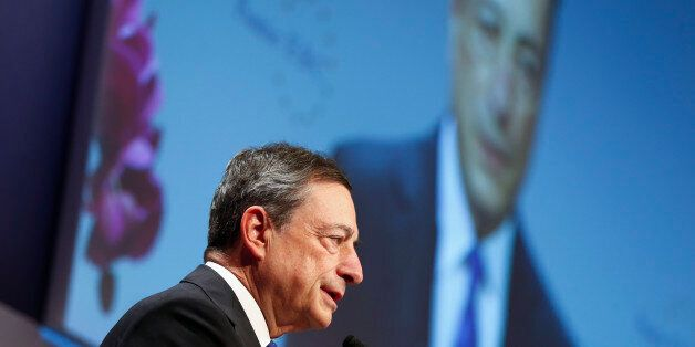 European Central Bank (ECB) President Mario Draghi speaks during the Euro Finance Week in Frankfurt,...