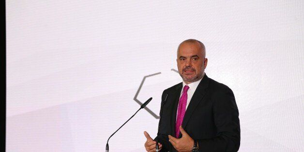 NIS, SERBIA - OCTOBER 14: Albania's Prime Minister Edi Rama delivers a speech during the Serbia - Albania...