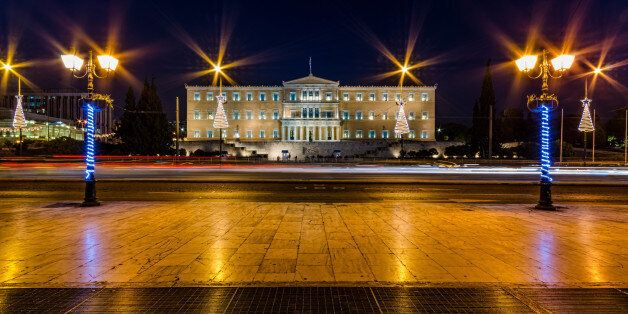 The Greek Parliament at night with Christmas