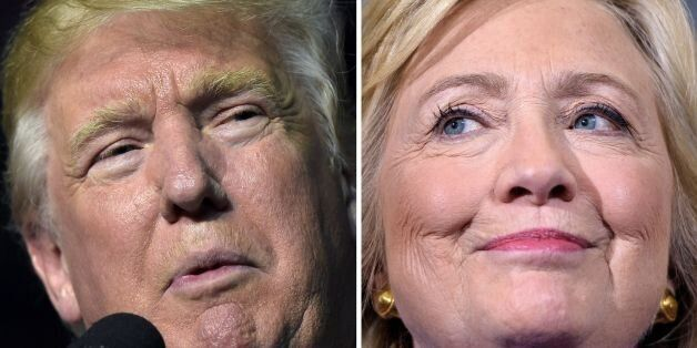 This combination of images shows Republican presidential nominee Donald Trump in Roanoke, Virginia on...