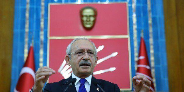 ANKARA, TURKEY - NOVEMBER 29: Kemal Kilicdaroglu, head of the Republican Peoples Party (CHP), gives a...