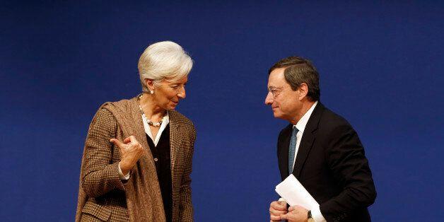 International Monetary Fund (IMF) Managing Director Christine Lagarde (L) and European Central Bank (ECB)...