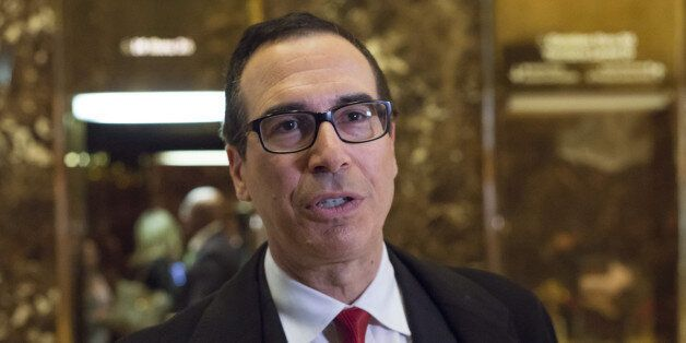 Steven Mnuchin, chief executive officer of Dune Capital Management LP, speaks to the media in the lobby...
