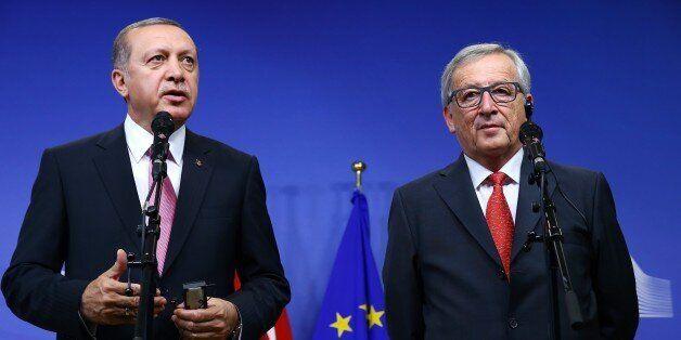 BRUSSELS, BELGIUM - OCTOBER 05: Turkish President Recep Tayyip Erdogan (L) meets with European Commission...