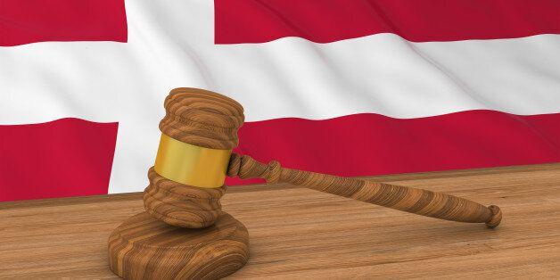 Danish Law Concept - Flag of Denmark Behind Judge's Gavel 3D