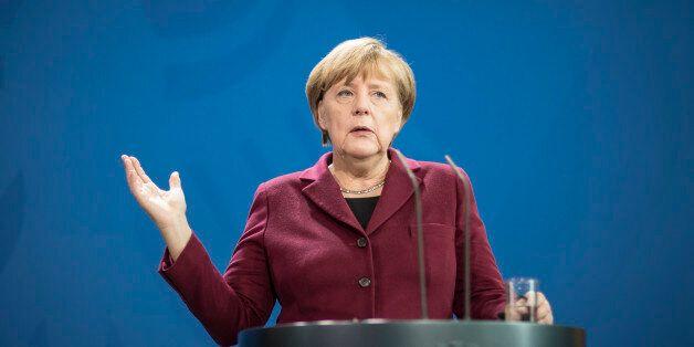 BERLIN, GERMANY - NOVEMBER 18: German Chancellor Angela Merkel speaks the media during a press conference...