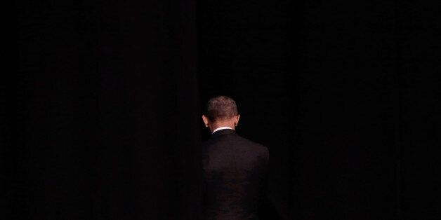 ATHENS, GREECE - NOVEMBER 16: U.S. President Barack Obama leaves the stage after his speech at the Stavros...