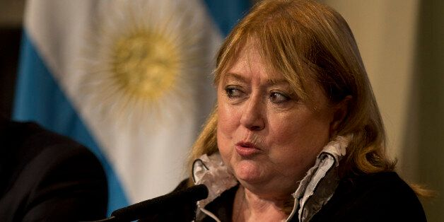 Argentine Foreign Minister Susana Malcorra speaks to the press in Buenos Aires, Argentina, Monday, May...