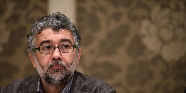 A picture taken on March 2, 2016 shows Erol Onderoglu, the Turkey representative for international rights...