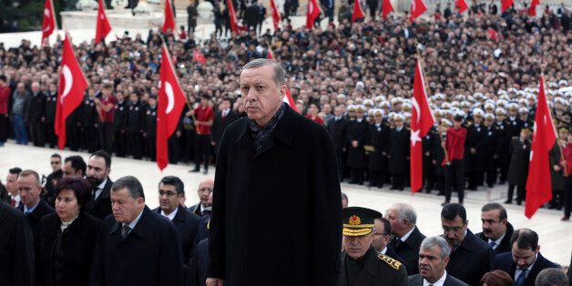 Turkey's President Recep Tayyip Erdogan visits before thousands of students and citizens walk to the...
