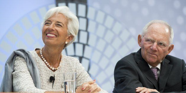 German Finance Minister Wolfgang Schauble and IMF Managing Director Christine Lagarde participate during...
