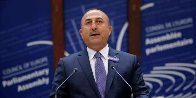 Turkey's Foreign Minister Mevlut Cavusoglu addresses the Parliamentary Assembly of the Council of Europe...