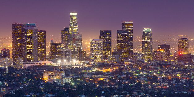 A view towards the downtown financial district skyscrapers in Los Angeles, California,
