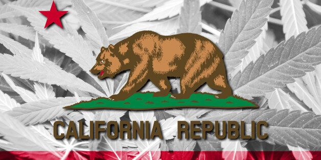 California State Flag on cannabis background. Drug policy. Legalization of